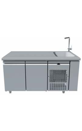 Fridge Counter Inox GN with Sink 40x40 PG159-40L