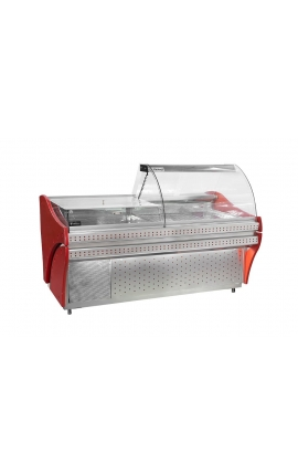 Serve Over Counter Display inox with Wood Paneling 2m - Code 0421-2115